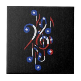 USA Flag Musical Notes Tile