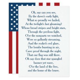USA Flag National Anthem Choir Card