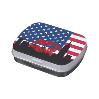 USA Flag NYC Skyline Silhouette Red Lipstick Kiss Jelly Belly Candy Tins