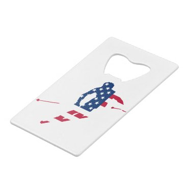 USA Flag of America Skiing American Credit Card Bottle Opener