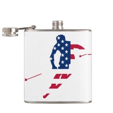 USA Flag of America Skiing American Flask