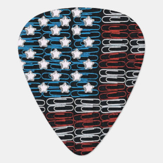 USA Flag of Paperclips Guitar Pick
