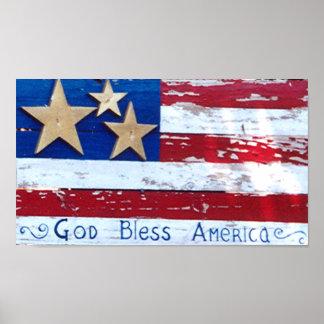 USA  Flag Old Antique Flag Photo God bless America Poster