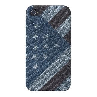 USA flag on denim texture design Case For iPhone 4