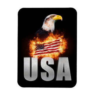 USA Flag on fire with Bald Eagle 4th of July Magnet