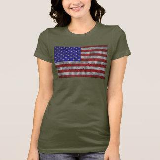 USA flag on steel plate T-Shirt