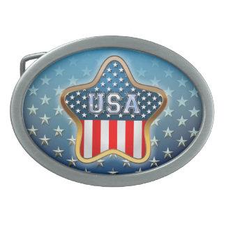 USA Flag Oval Belt Buckle