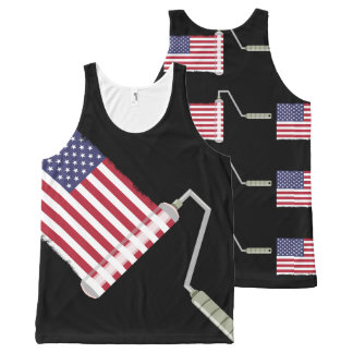 USA Flag Paint Roller Stars and Stripes All-Over-Print Tank Top