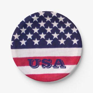 USA flag paper plate