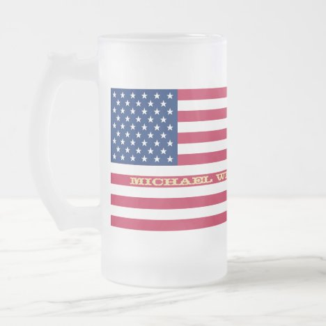 USA Flag Patriotic America Custom Name Monogram Frosted Glass Beer Mug