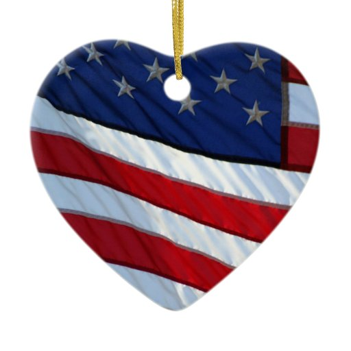 USA Flag Patriotic Christmas Double-Sided Heart Ceramic