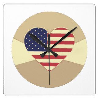 USA Flag Patriotic Heart Vintage Retro Style Cream Wallclock