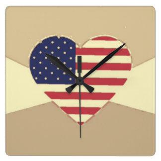 USA Flag Patriotic Heart Vintage Retro Style Cream Square Wallclocks