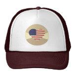 USA Flag Patriotic Heart Vintage Retro Style Cream Mesh Hat