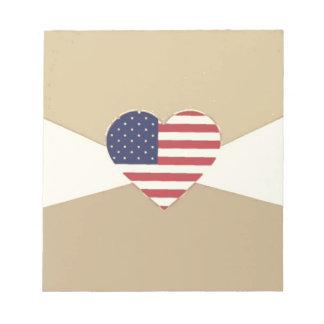 USA Flag Patriotic Heart Vintage Retro Style Cream Memo Note Pads