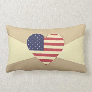 USA Flag Patriotic Heart Vintage Retro Style Cream Pillow