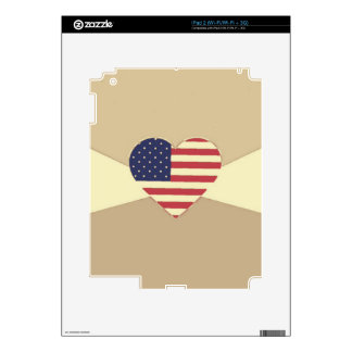 USA Flag Patriotic Heart Vintage Retro Style Cream Decal For The iPad 2