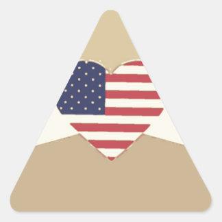 USA Flag Patriotic Heart Vintage Retro Style Cream Triangle Sticker