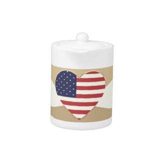 USA Flag Patriotic Heart Vintage Retro Style Cream