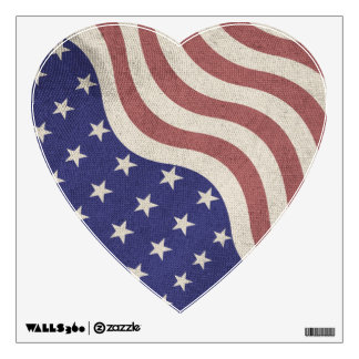 USA flag patriotic rustic weathered Heart Wall Sticker