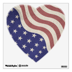 USA flag patriotic rustic weathered Heart Wall Skins