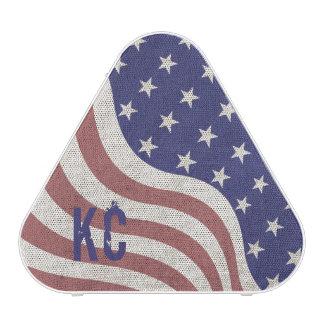 USA flag patriotic rustic weathered monogram Bluetooth Speaker