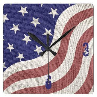 USA flag patriotic rustic weathered monogram Square Wallclock