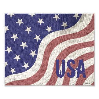 USA flag patriotic rustic weathered monogram Photo Print
