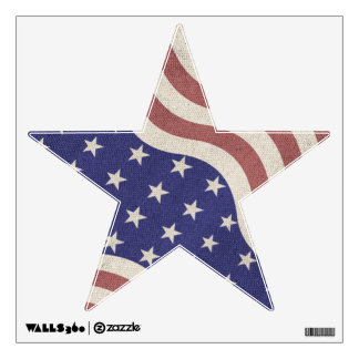 USA flag patriotic rustic weathered Star Room Graphic