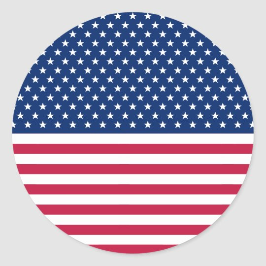 USA Flag Patriotic Stars Stripes Big Round Sticker