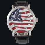 """USA Flag Patriotic Wrist Watch<br><div class=""""desc"""">A waving American Flag</div>"""