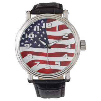 USA Flag Patriotic Wrist Watch
