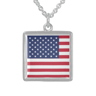 USA Flag Pattern. Perfect Patriotic Gift. American Necklace