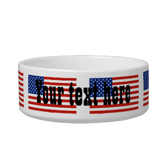USA flag Cat Water Bowl