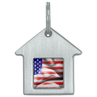 USA Flag Pet ID Tag
