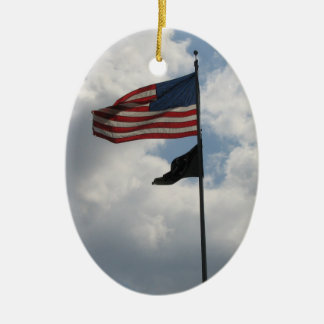 USA Flag Photo Double-Sided Oval Ceramic Christmas Ornament