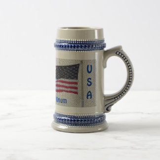 USA Flag Pluribus Unum Beer Mug