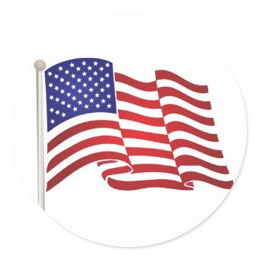 USA Themed USA Flag Pole Classic Round Sticker