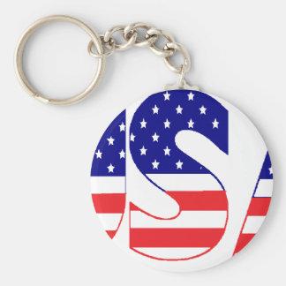 USA flag postage Basic Round Button Keychain