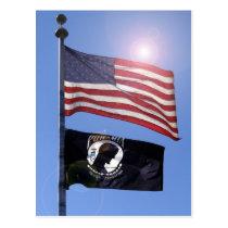USA FLAG & POW MIA FLAG POSTCARD