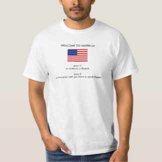 USA flag, press 1 to continue in Englishpress 2... T-shirt