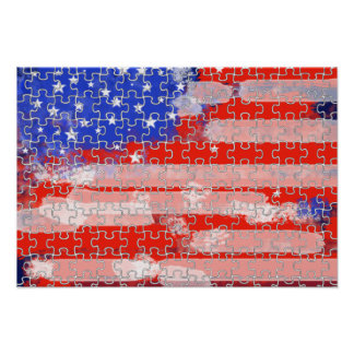USA flag puzzle Poster