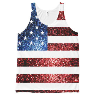 USA flag red and blue sparkles glitters All-Over-Print Tank Top