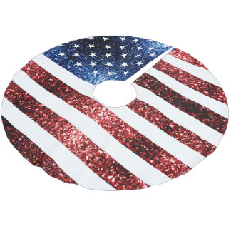 USA flag red and blue sparkles glitters Brushed Polyester Tree Skirt