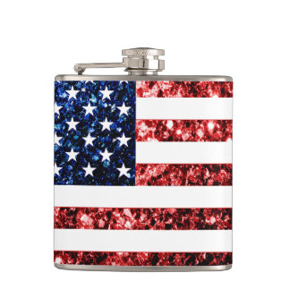 USA flag red and blue sparkles glitters Flasks