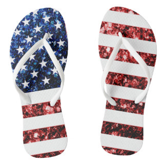 USA flag red and blue sparkles glitters Flip Flops