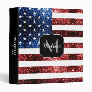 USA flag red and blue sparkles glitters Monogram Binder
