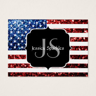 USA flag red and blue sparkles glitters Monogram Business Card