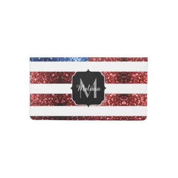 USA Themed USA flag red and blue sparkles glitters Monogram Checkbook Cover