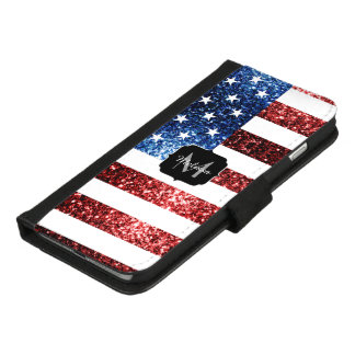 USA flag red and blue sparkles glitters Monogram iPhone 8/7 Plus Wallet Case